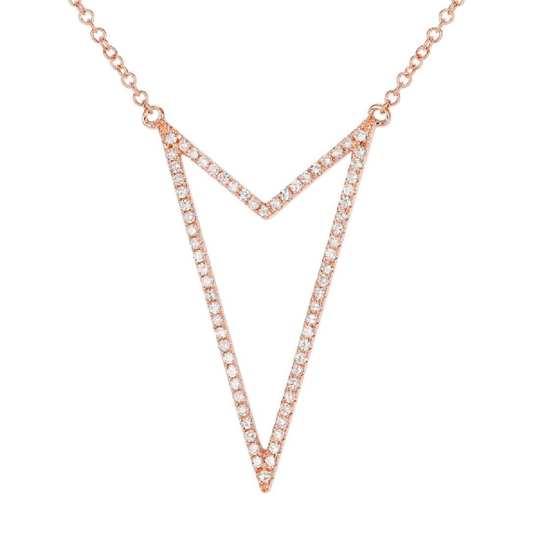 14KT Rose Gold Diamond Necklace - 2