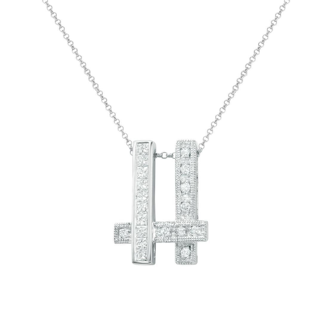 14KT White Gold Ladies Slider with Chain