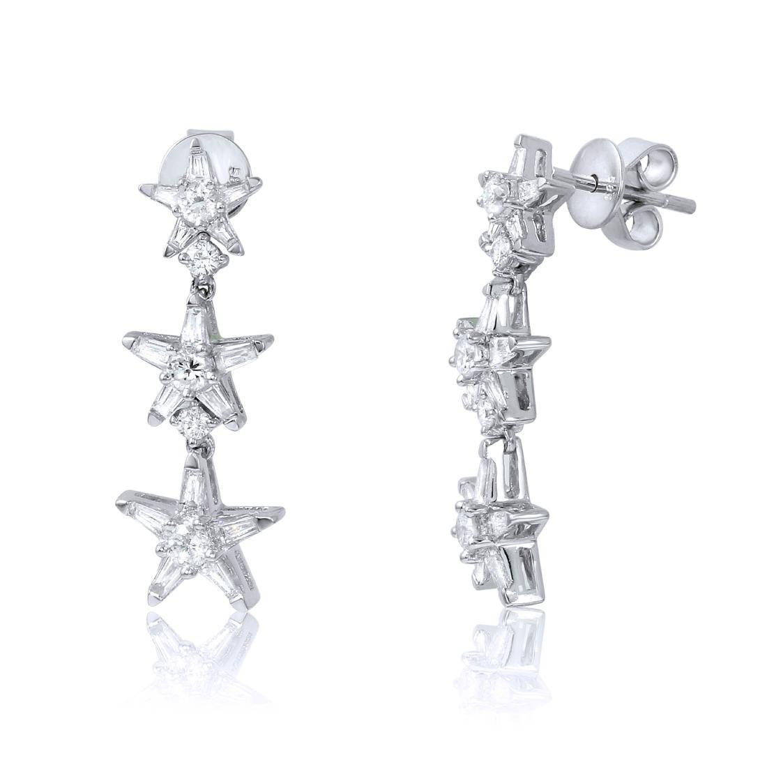 14KT White Gold Diamond Star Earrings