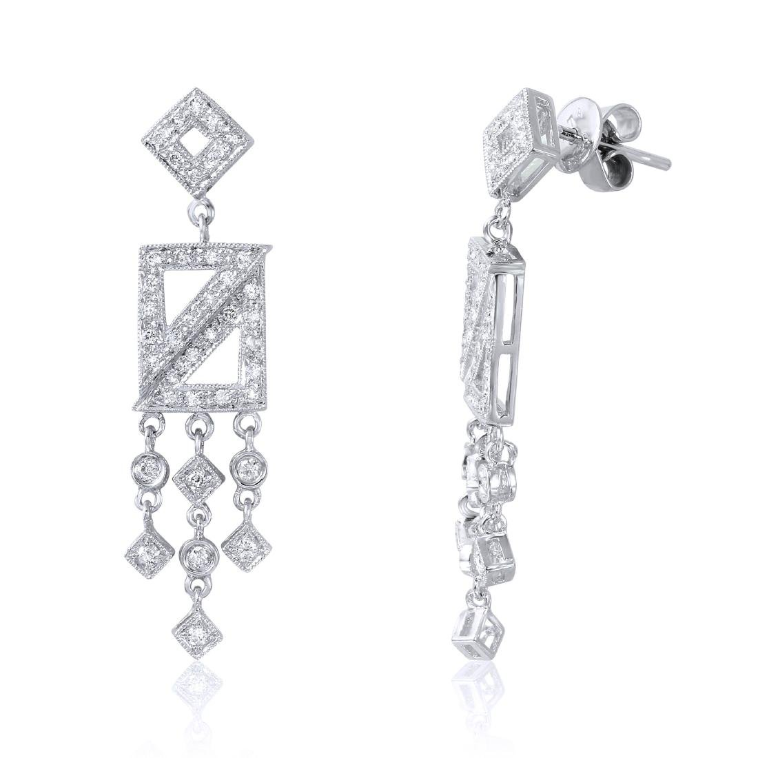 18KT White Gold Diamond Chandelier Earrings