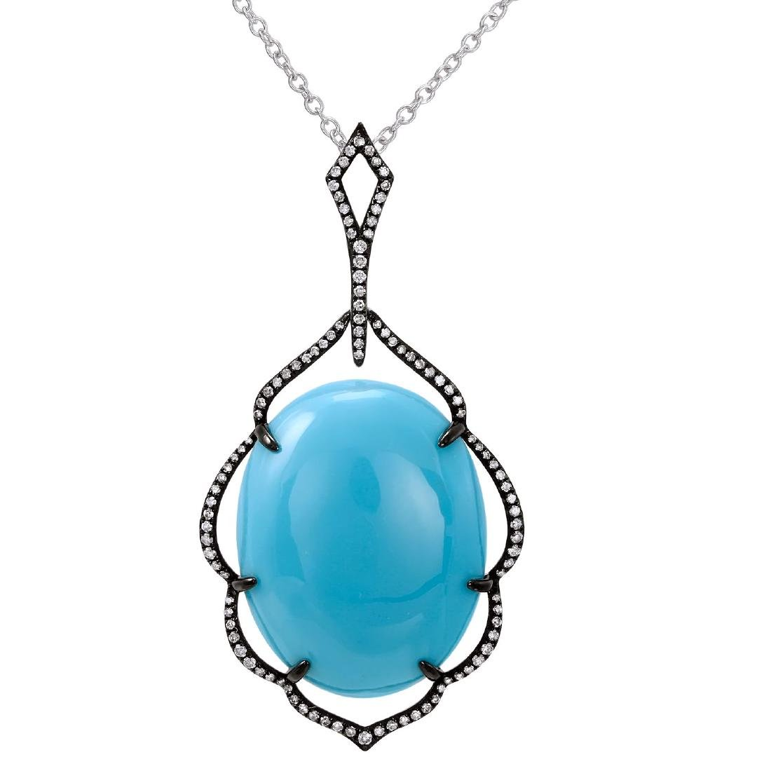 14KT  Gold Gemstone Pendant With Chain - 2
