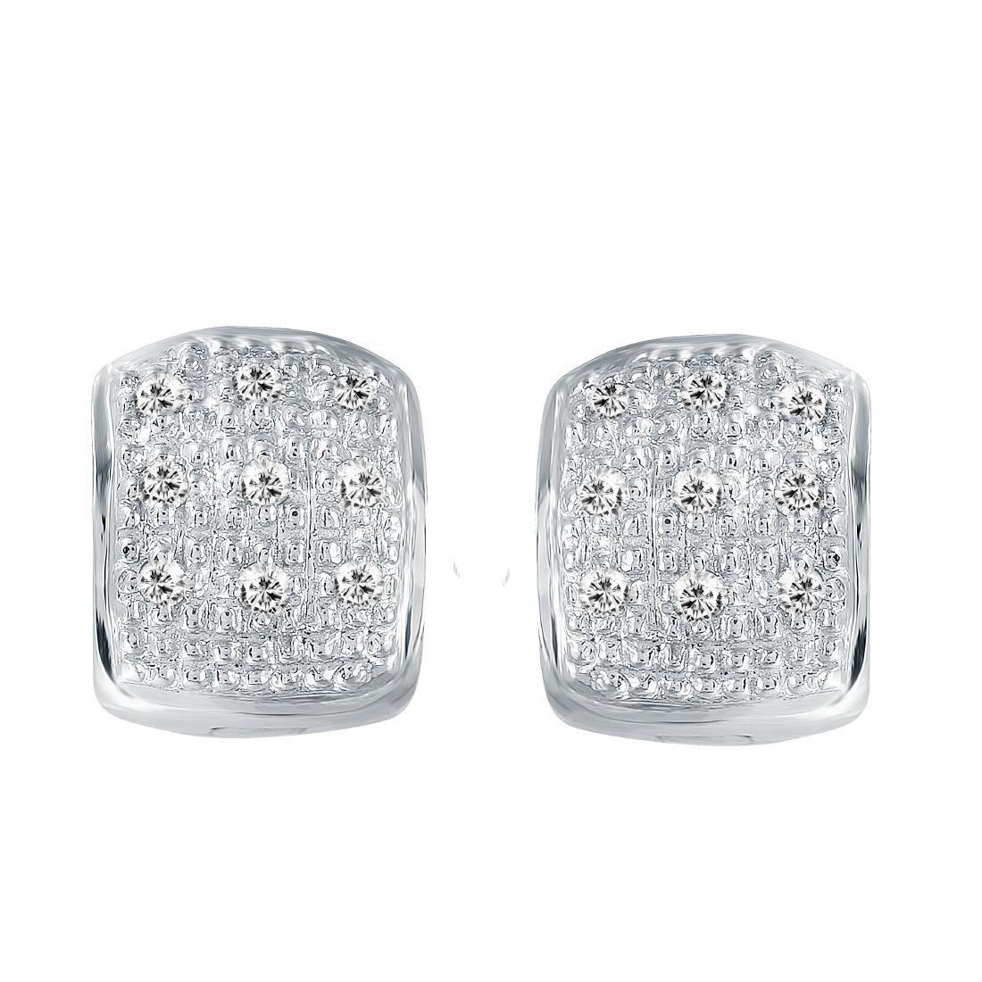 14KT White Gold Diamond Huggie Earrings - 2
