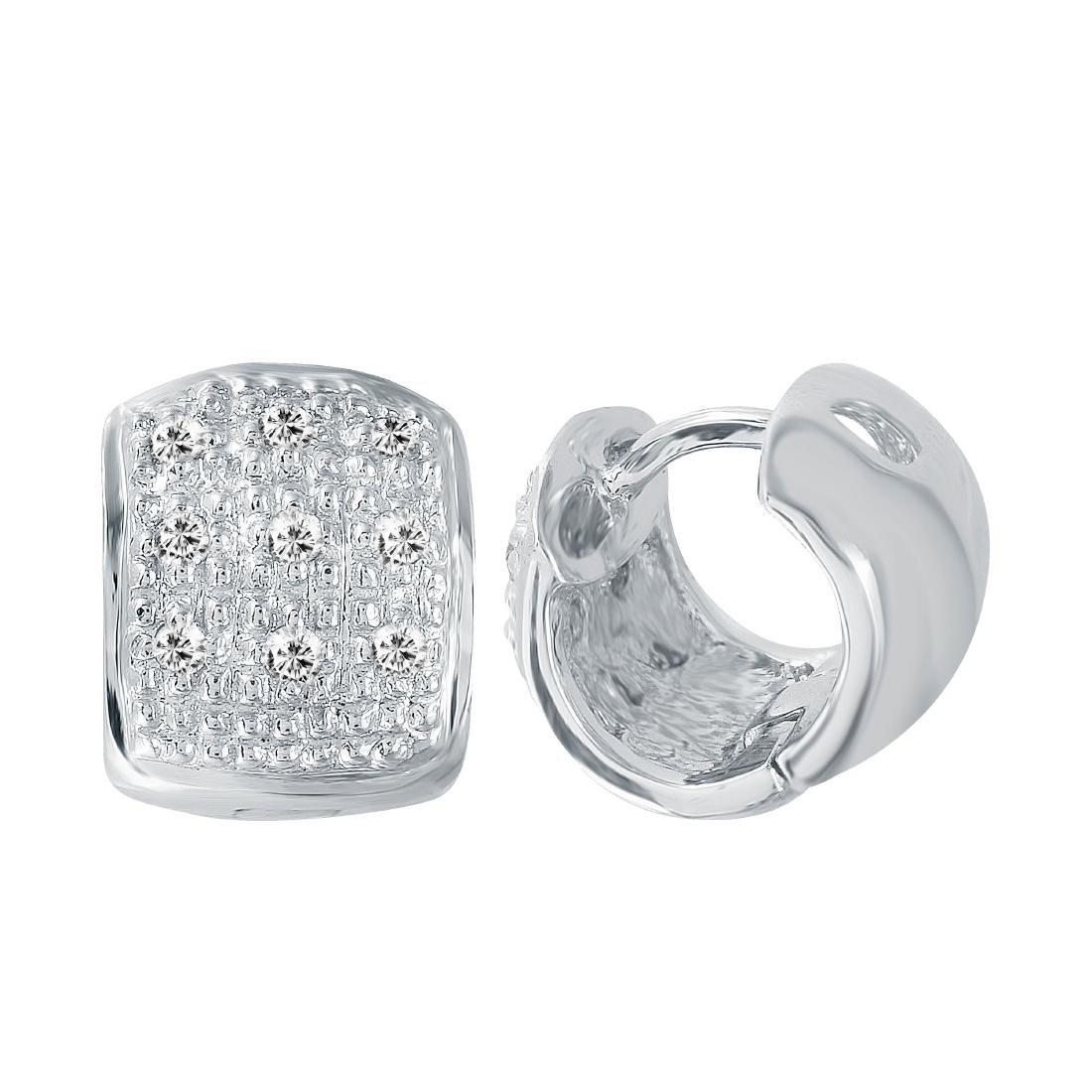 14KT White Gold Diamond Huggie Earrings - 3