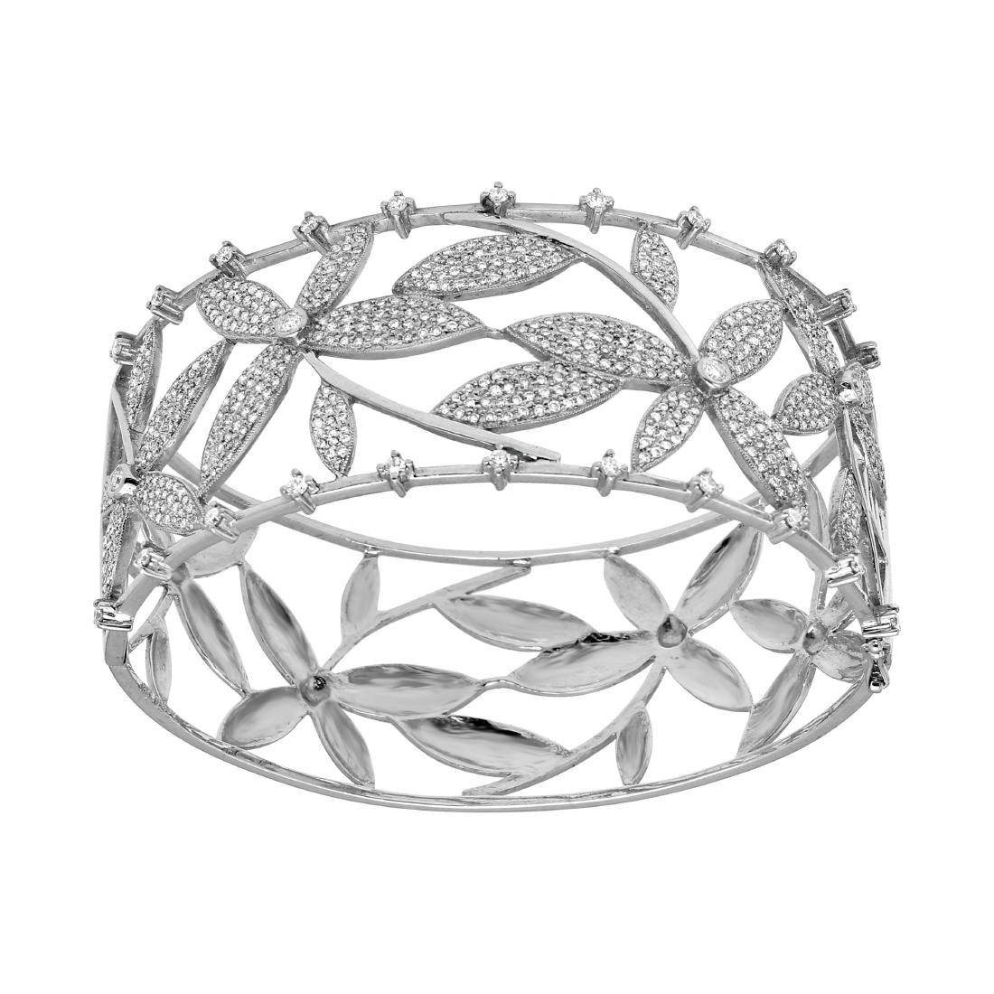 18KT White Gold Diamond Bangle Bracelet - 3