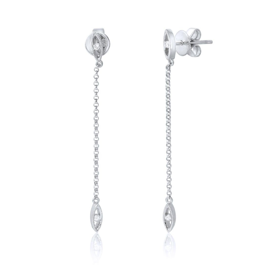 14KT White Gold Diamond Linear Earrings