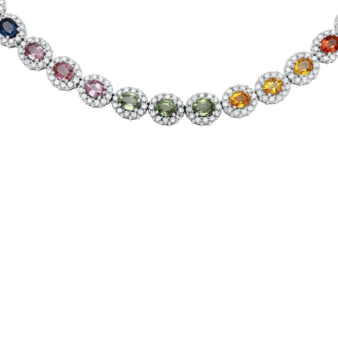 14KT White Gold Gemstone Necklace - 4