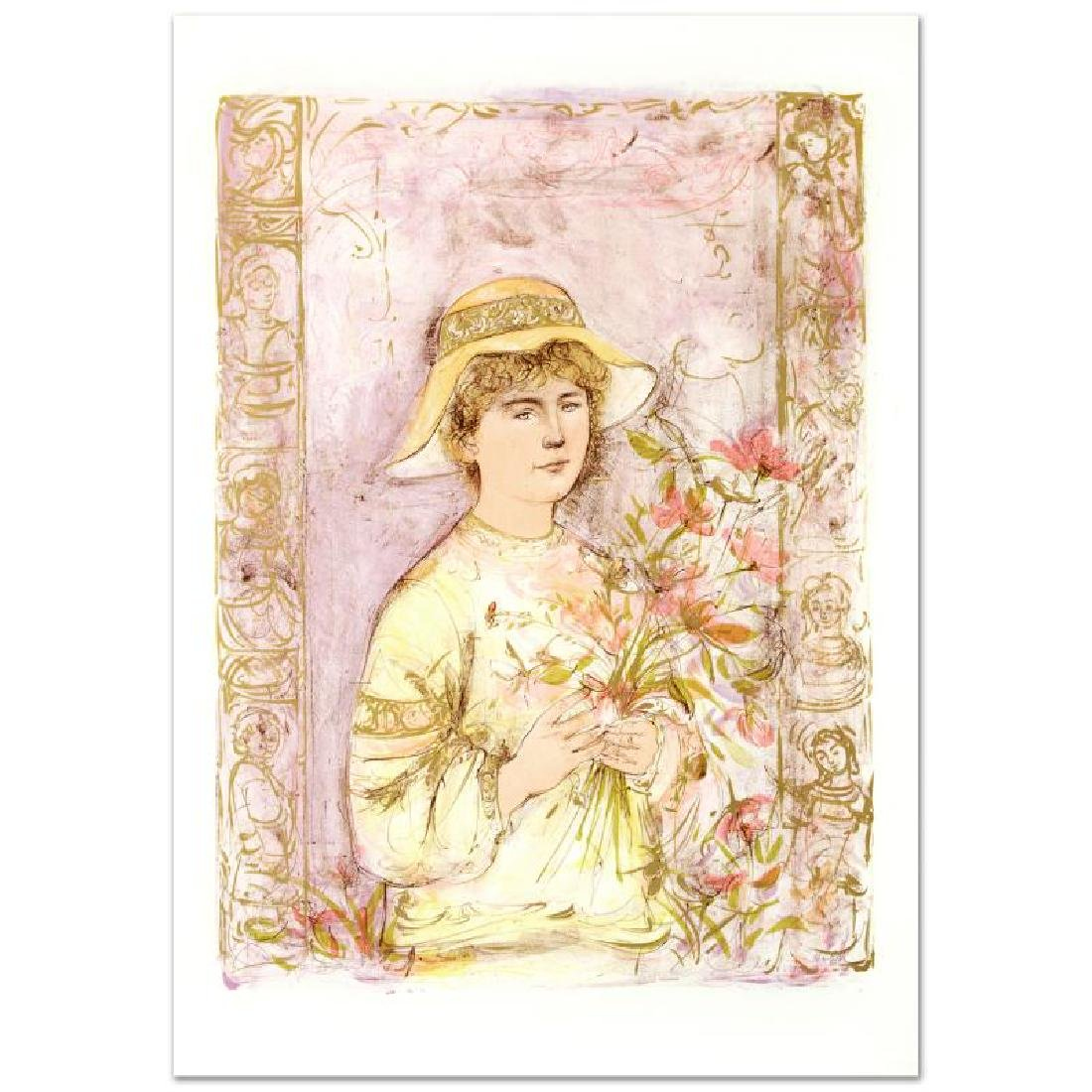 """Flora"" Limited Edition Lithograph by Edna Hibel"