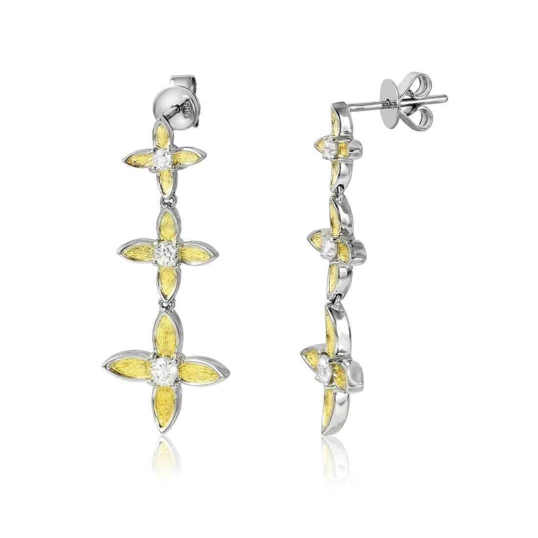 14KT Two Tone Gold Flower Dangle Earrings