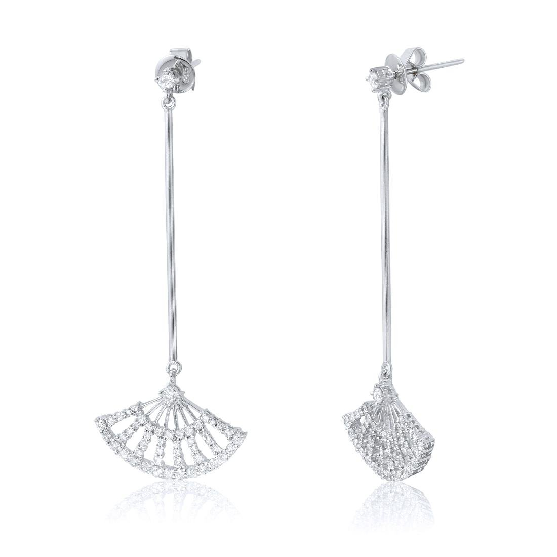 14KT White Gold Diamond Fan Earrings