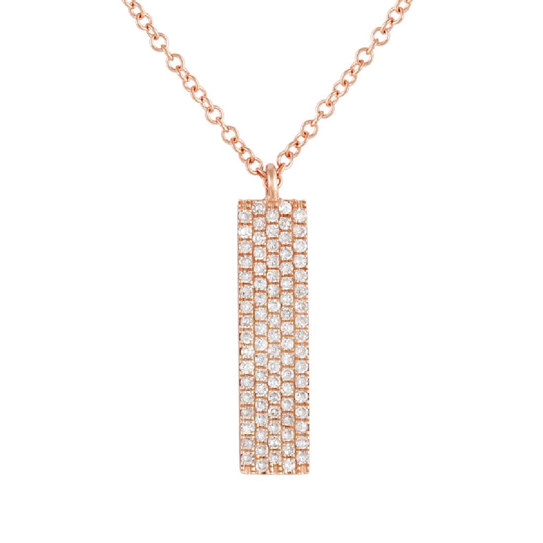 14KT Rose Gold Diamond Pendant With Chain