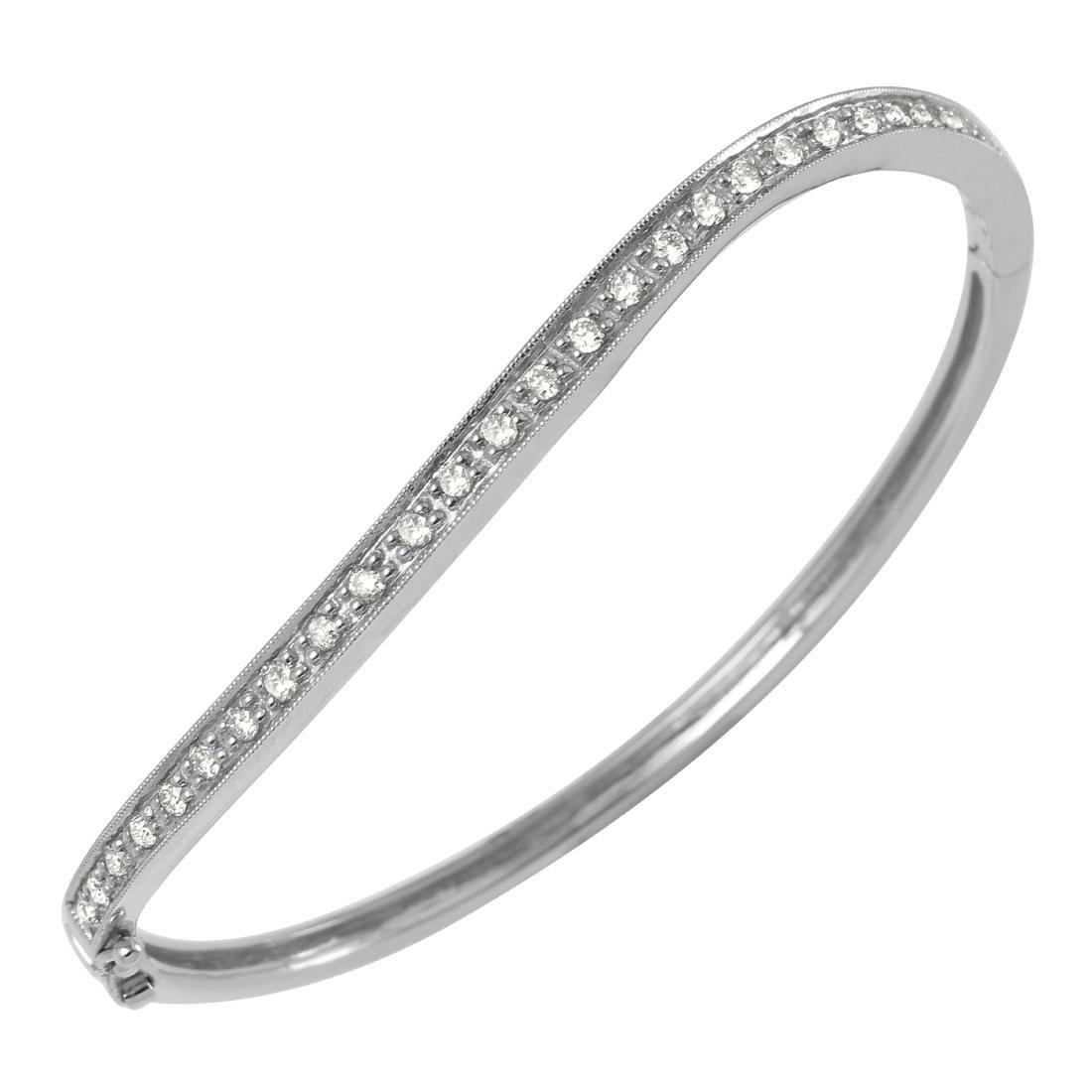 14KT White Gold Diamond Bangle Bracelet - 4