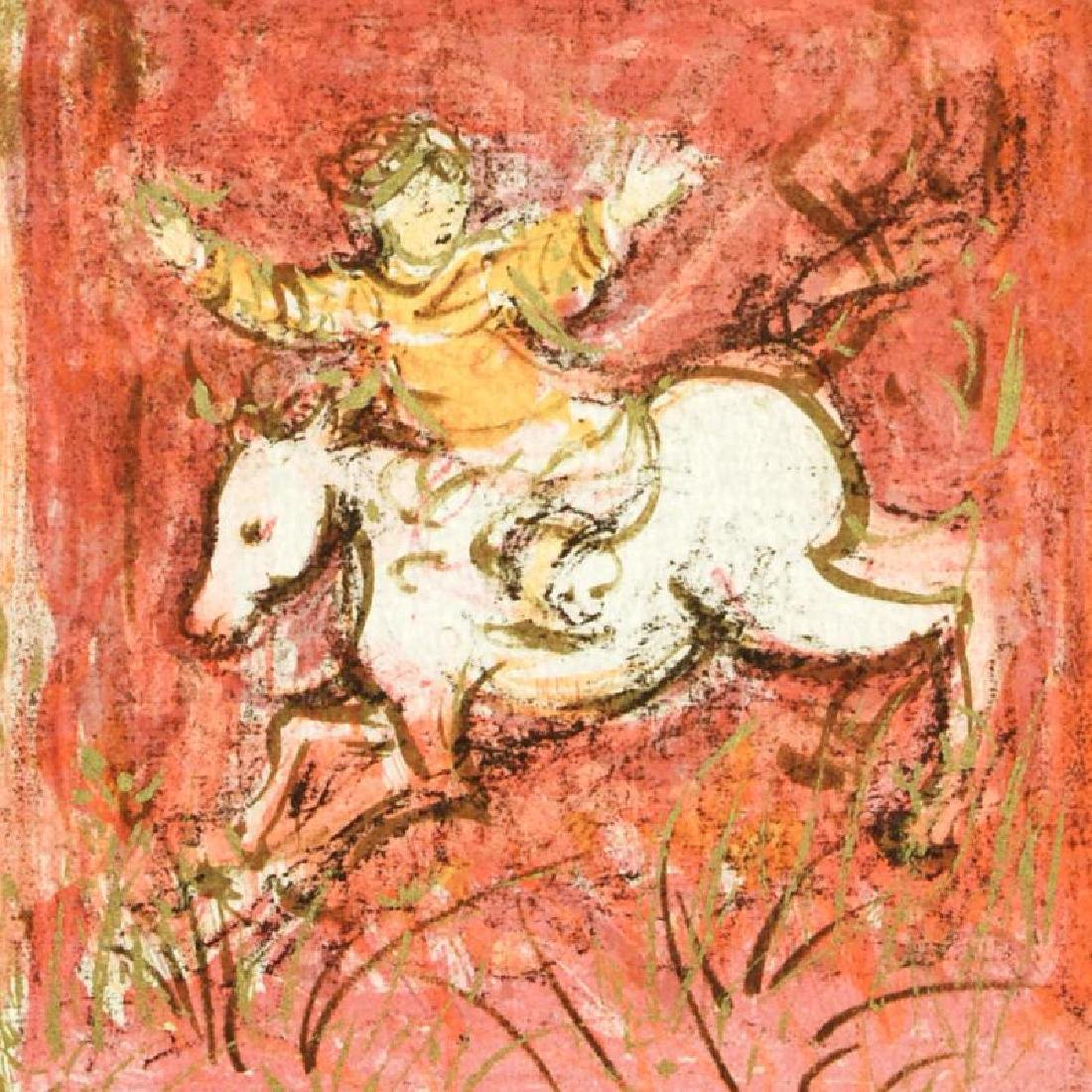 """""""Swift Rider"""" Limited Edition Lithograph by Edna Hibel - 4"""