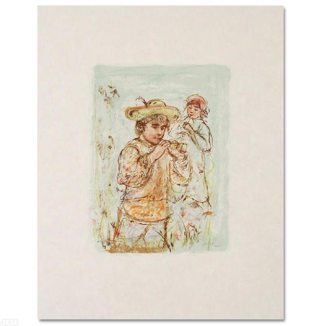 """Boy with Horn"" Limited Edition Lithograph by Edna"