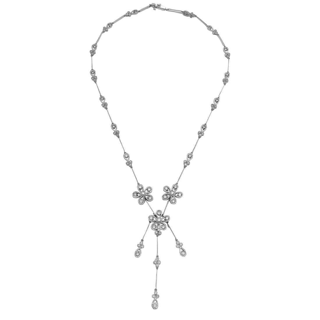 14KT White Gold Diamond Flower Necklace
