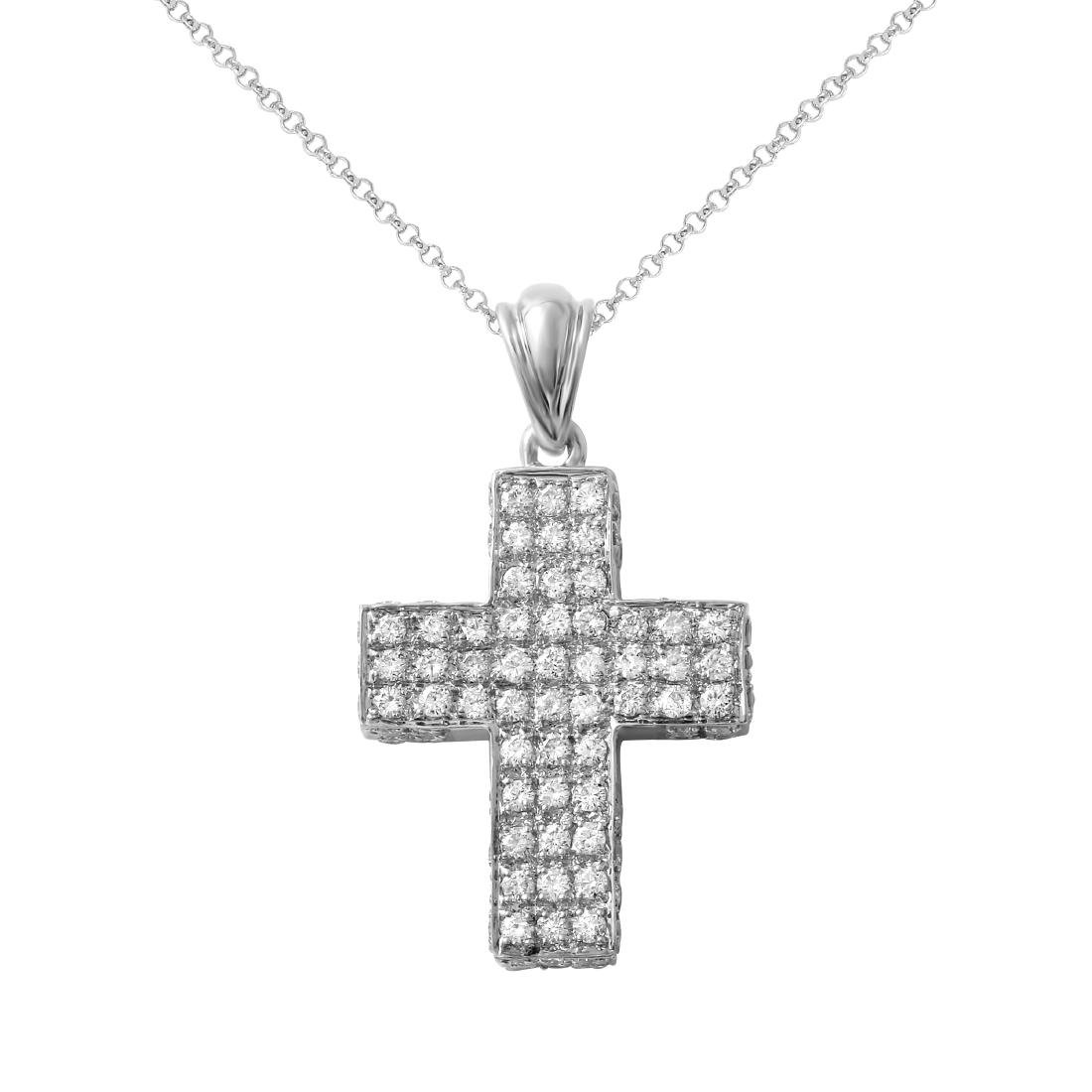 14KT White Gold Ladies Slider with Chain