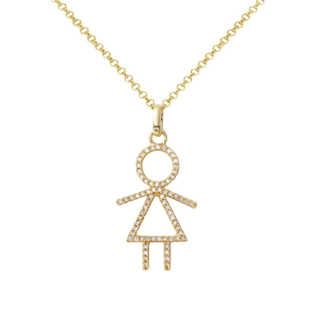 14KT Yellow Gold Ladies Slider with Chain - 2