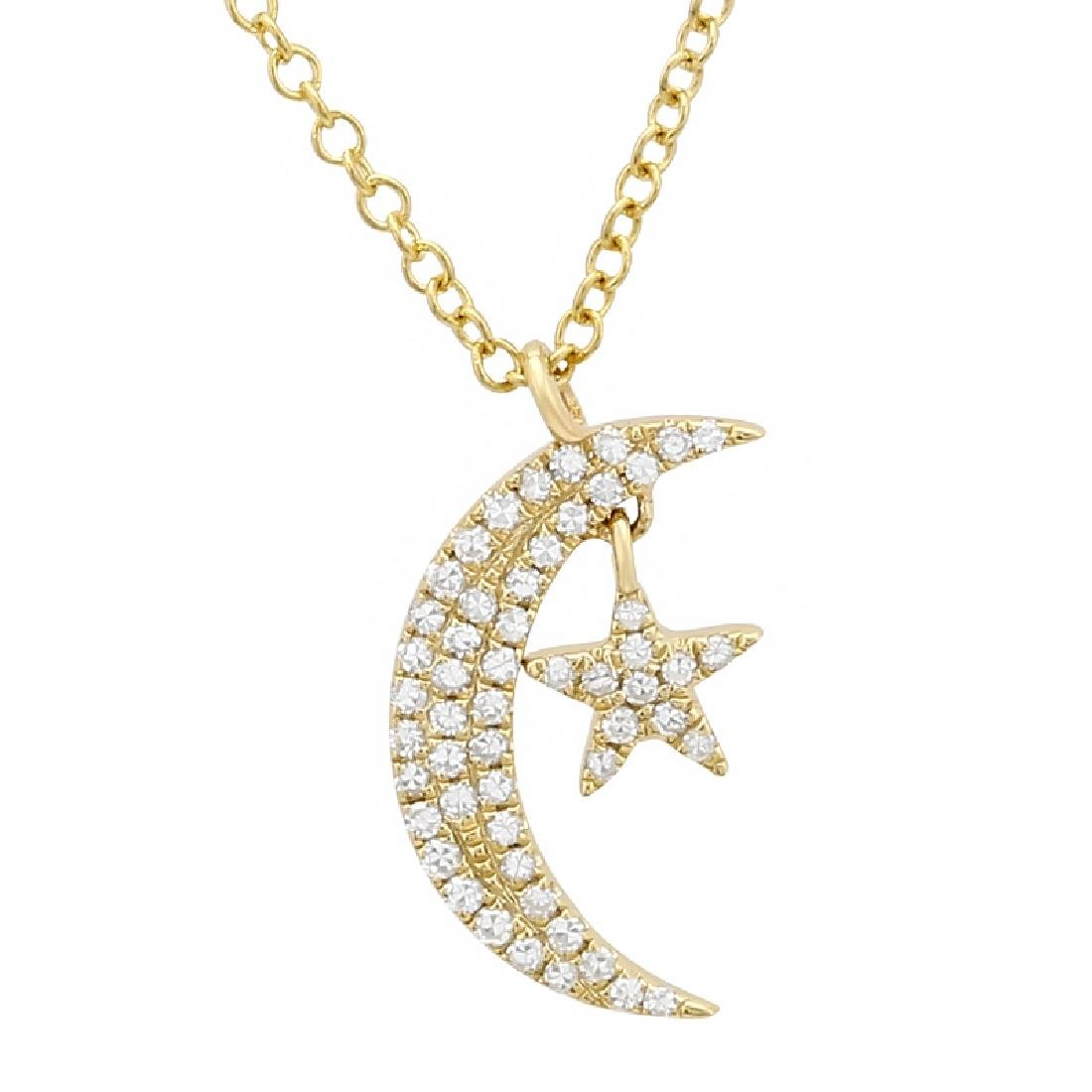 14KT Yellow Gold Diamond Pendant With Chain