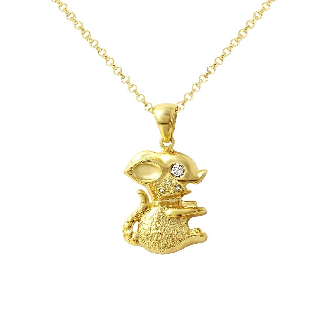14KT Yellow Gold Ladies Slider with Chain