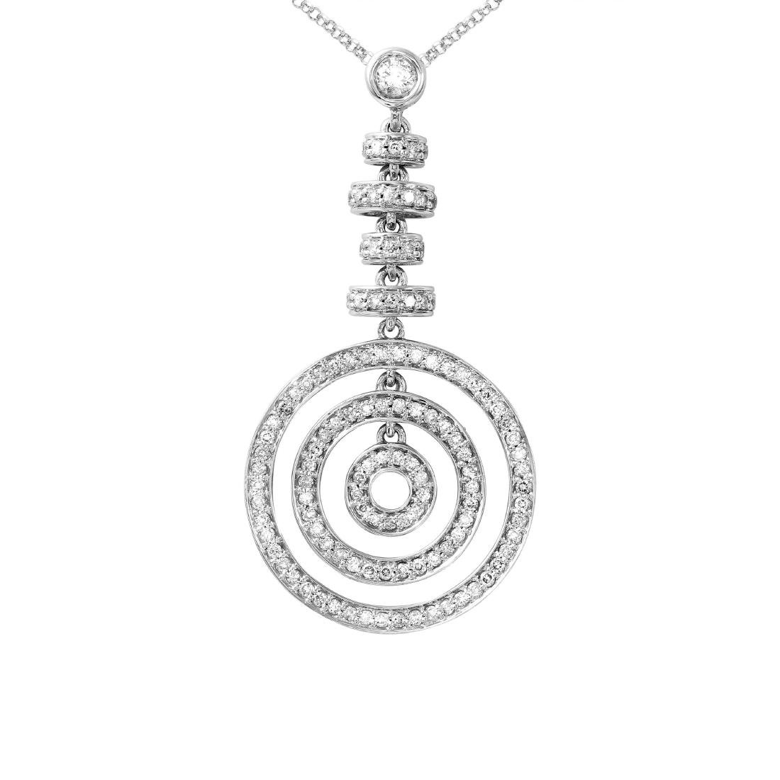 14KT White Gold Ladies Slider with Chain - 2