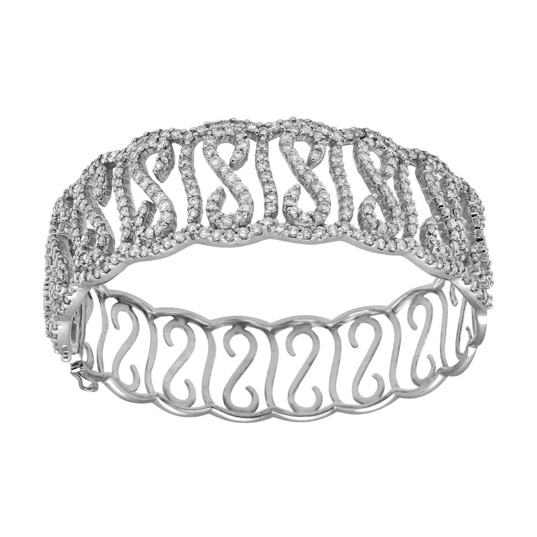18KT White Gold Diamond Bangle Bracelet - 2