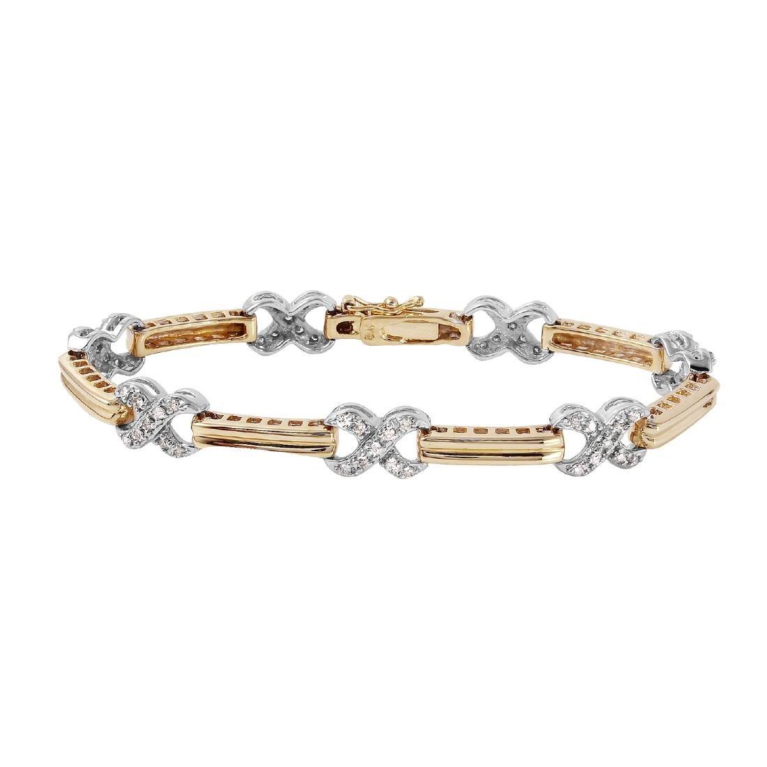 14KT Two Tone Gold Diamond Bracelet - 3