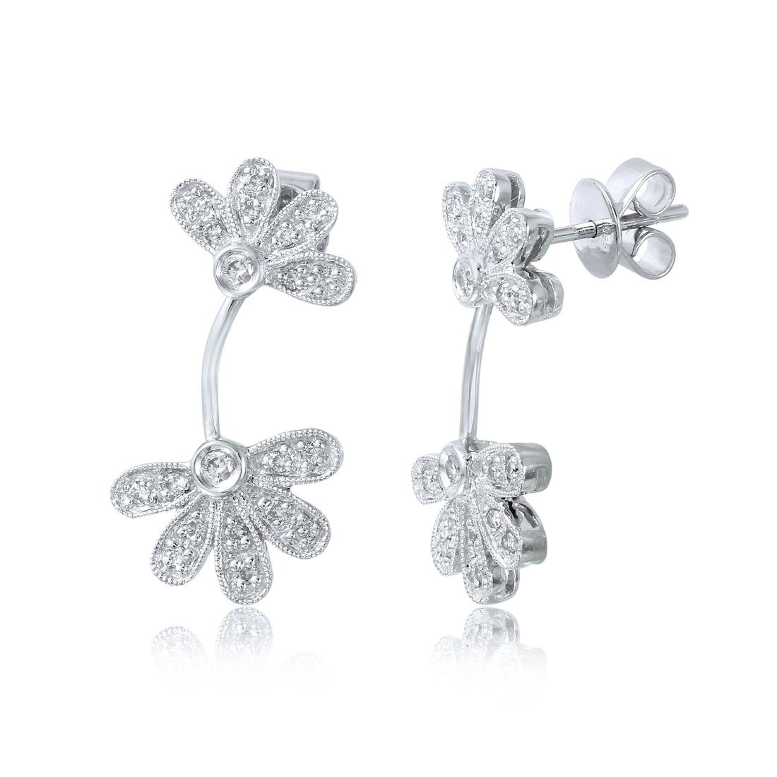 14KT White Gold Diamond Flower Earrings - 2
