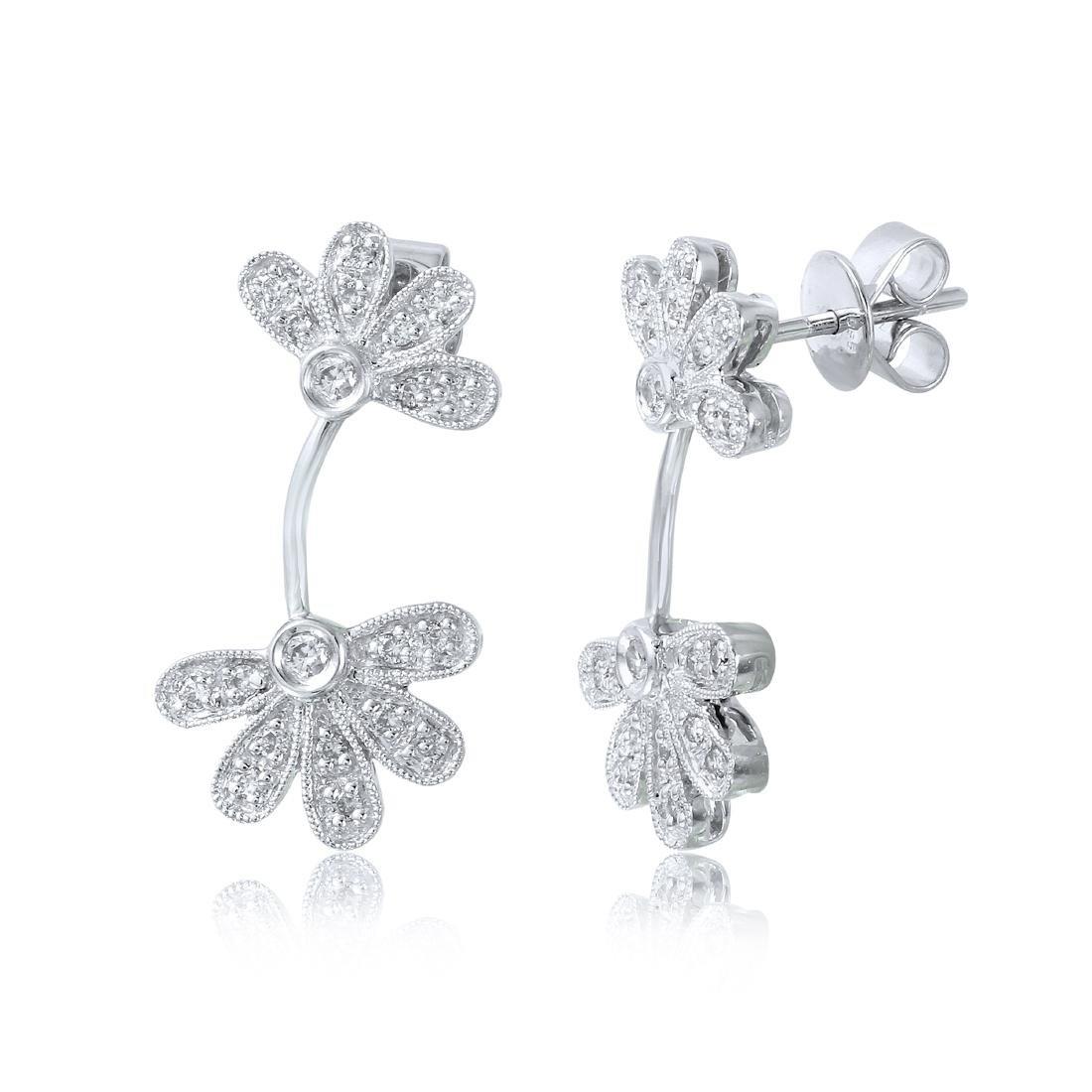 14KT White Gold Diamond Flower Earrings - 2