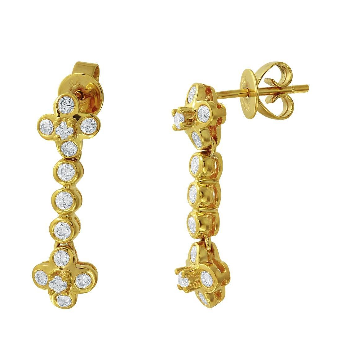 18KT Yellow Gold Diamond Bezel Earrings