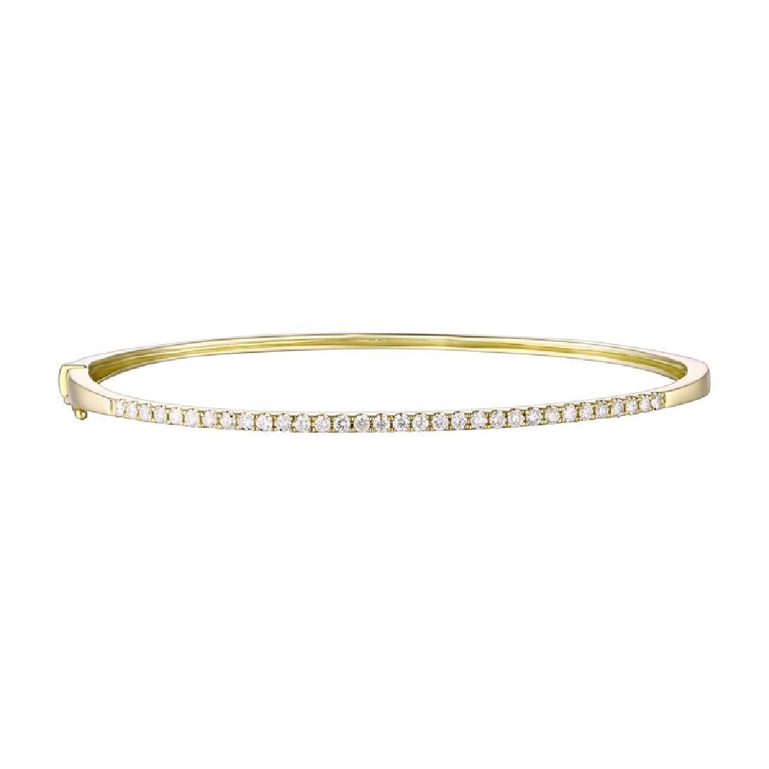14KT Yellow Gold Diamond Bangle - 2