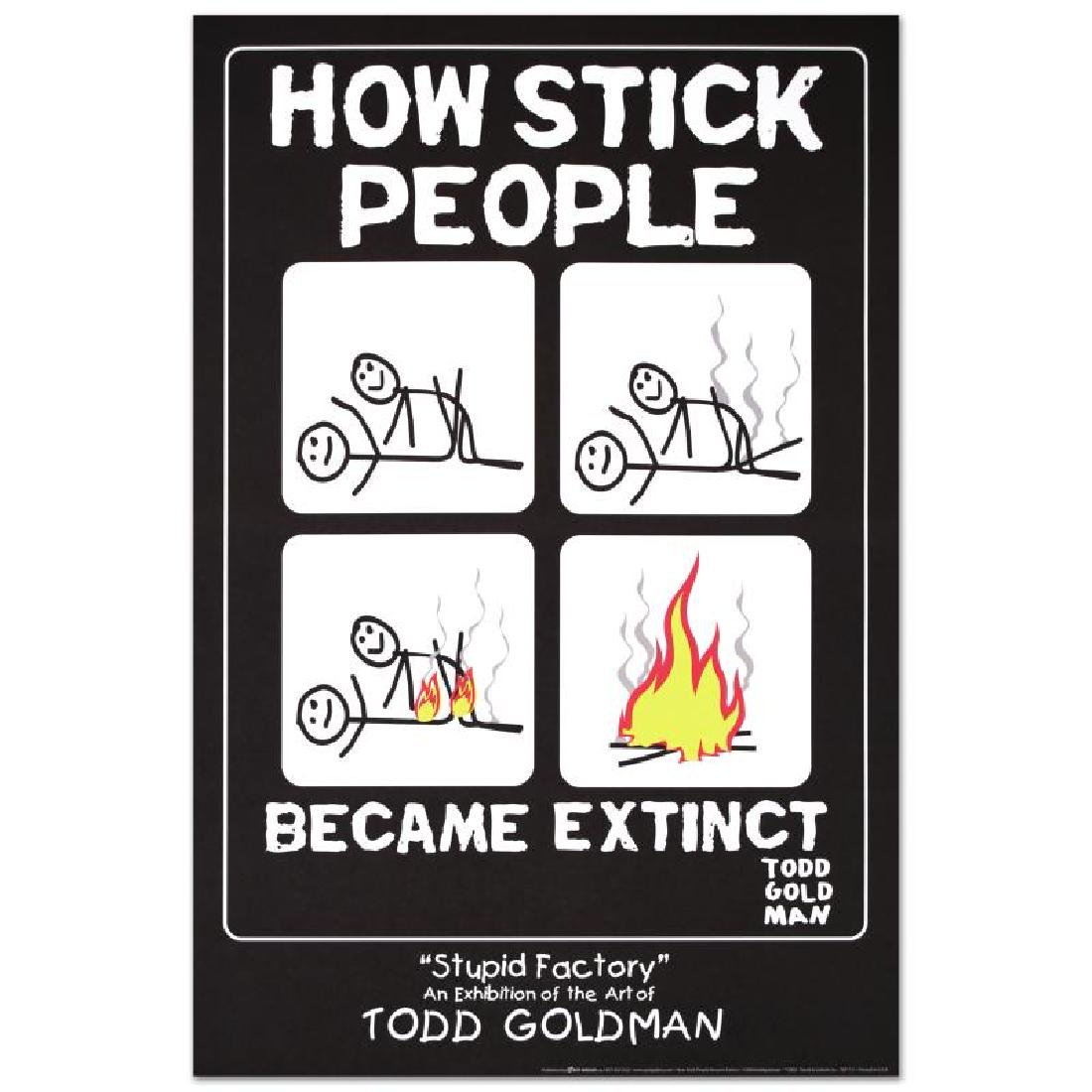 """""""How Stick People Became Extinct"""" Fine Art Litho Poster"""