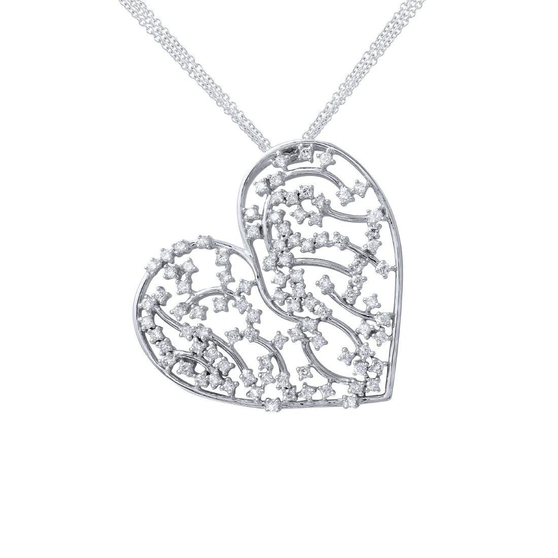 18KT White Gold Ladies Slider with Chain