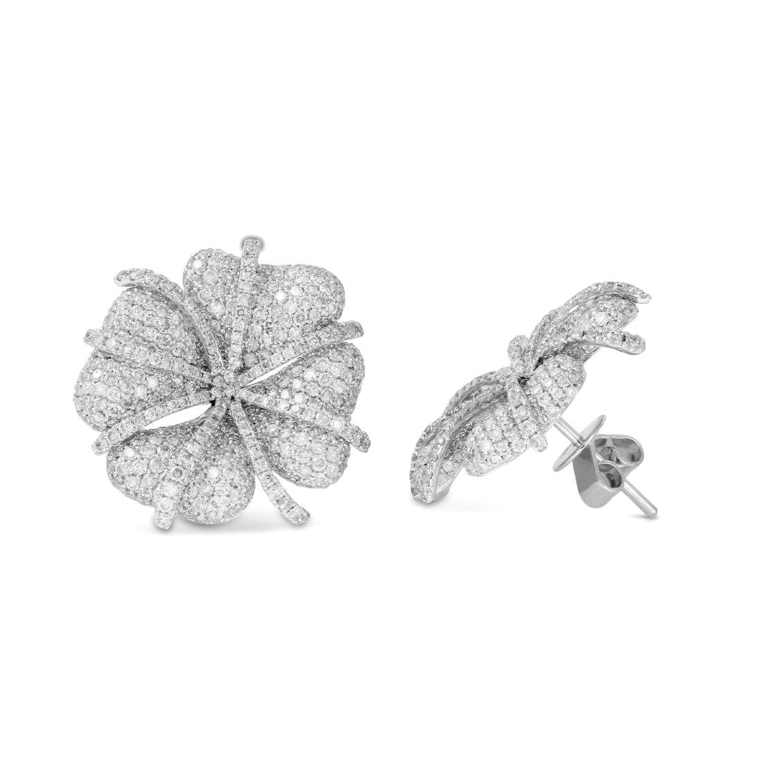 14KT White Gold Diamond Four-Leaf Clover Studs