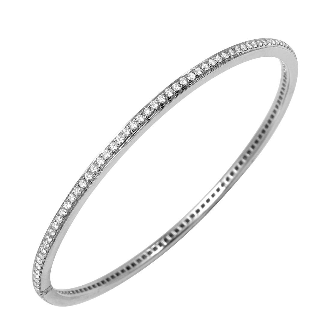 14KT White Gold Diamond Bangle Bracelet - 2