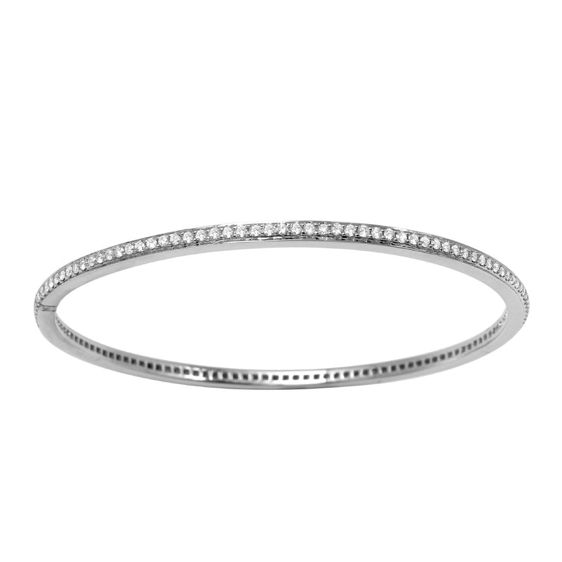 14KT White Gold Diamond Bangle Bracelet - 3