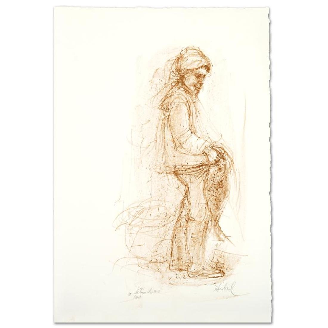 """Fisherman"" Limited Edition Lithograph by Edna Hibel"