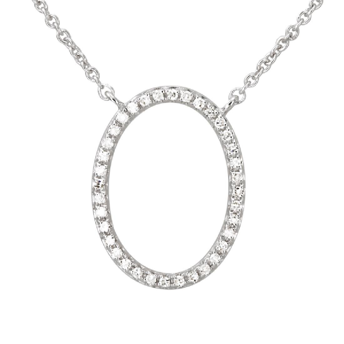 14KT White Gold Diamond Necklace - 2