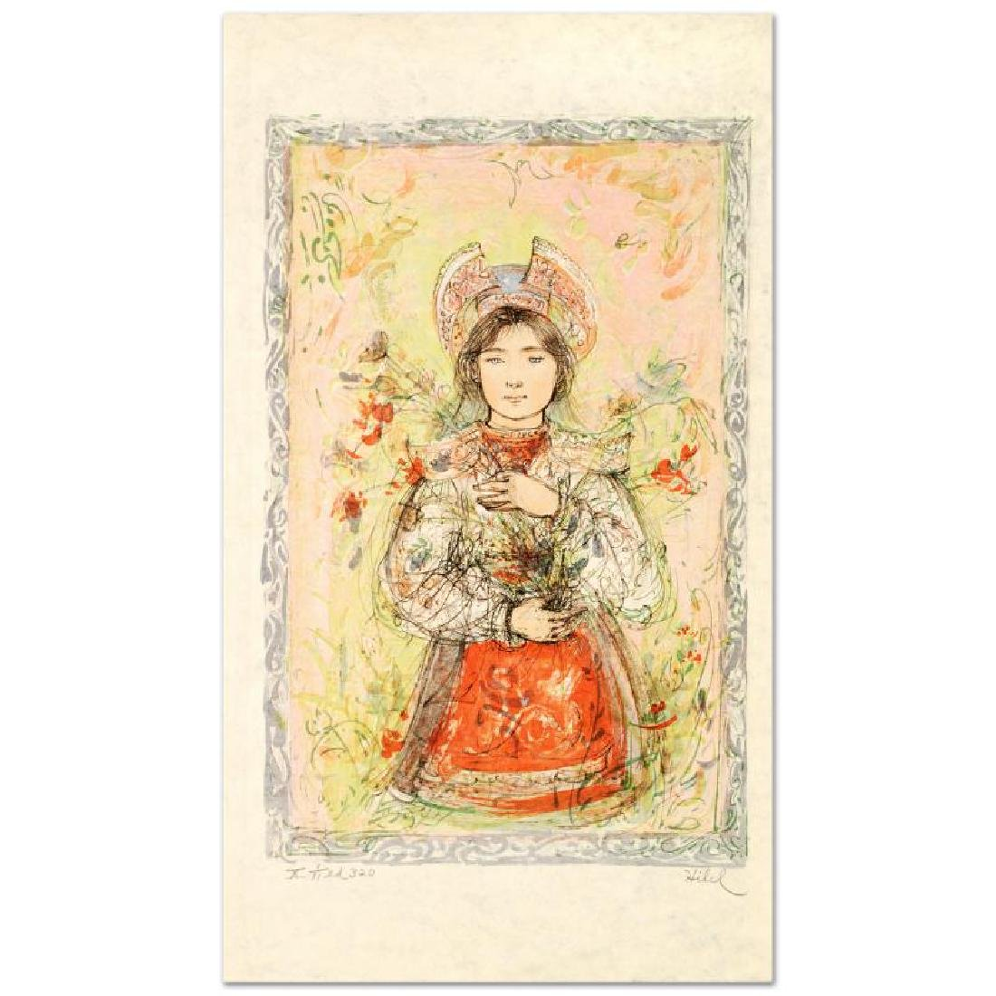 """Tonnette"" Limited Edition Lithograph by Edna Hibel - 3"