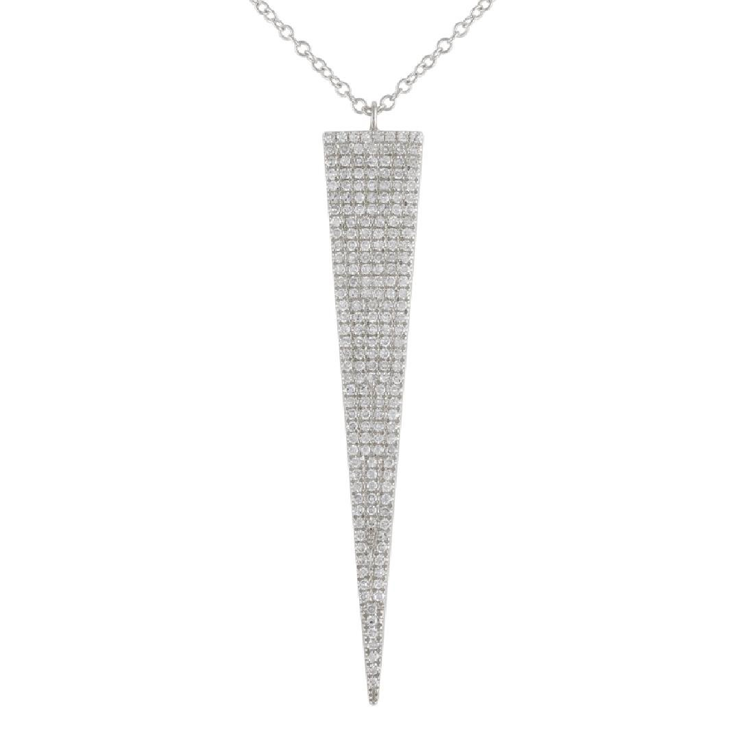 14KT White Gold Diamond Pendant With Chain