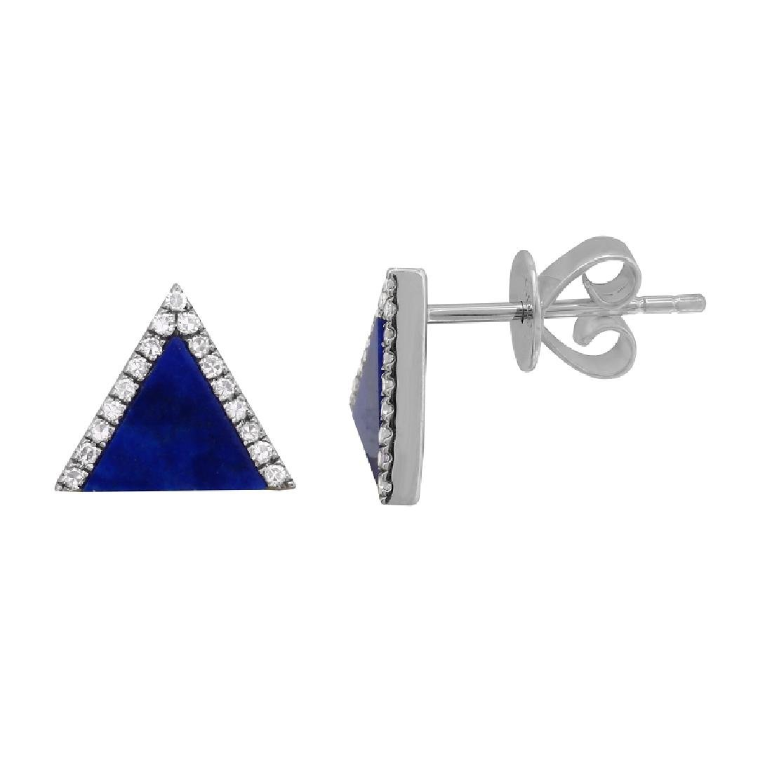 14KT White Gold Gemstone Earrings - 2