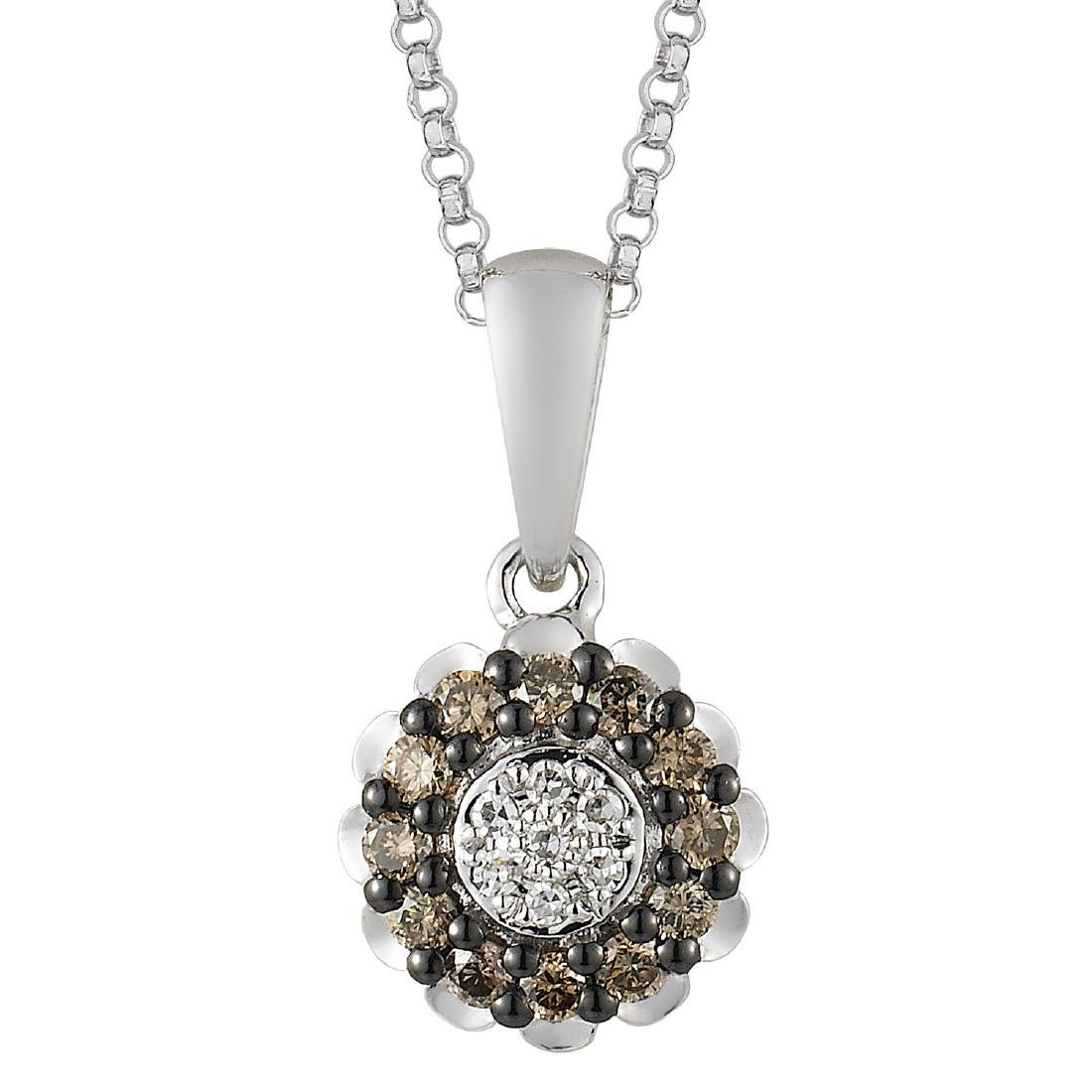 14KT White Gold Diamond Pendant With Chain - 2