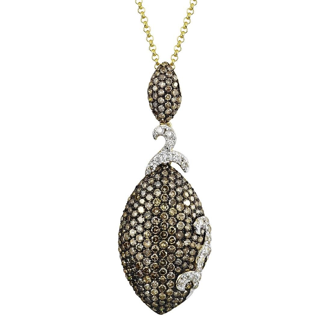14KT  Gold Diamond Pendant With Chain