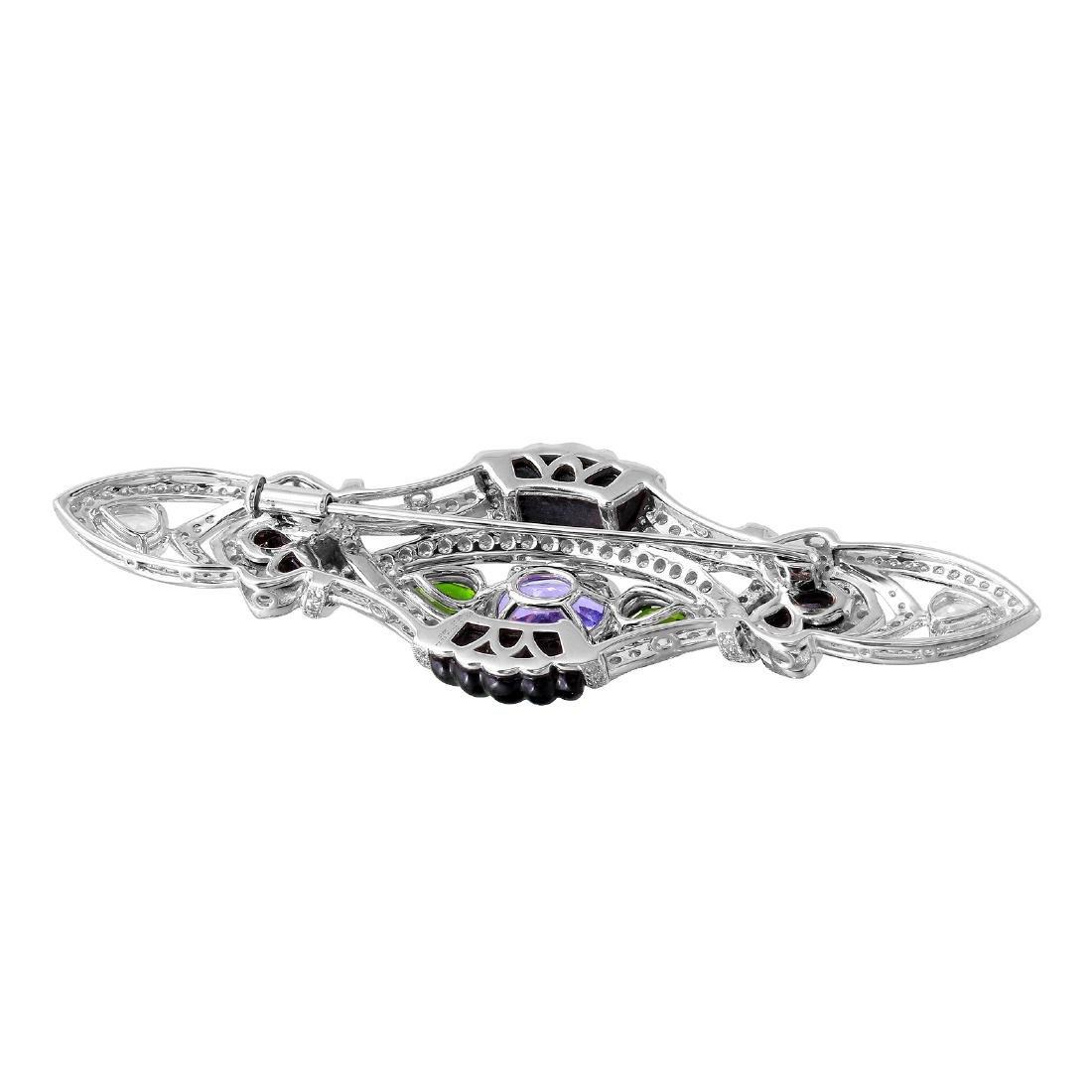 18KT White Gold Gemstone Brooch - 2