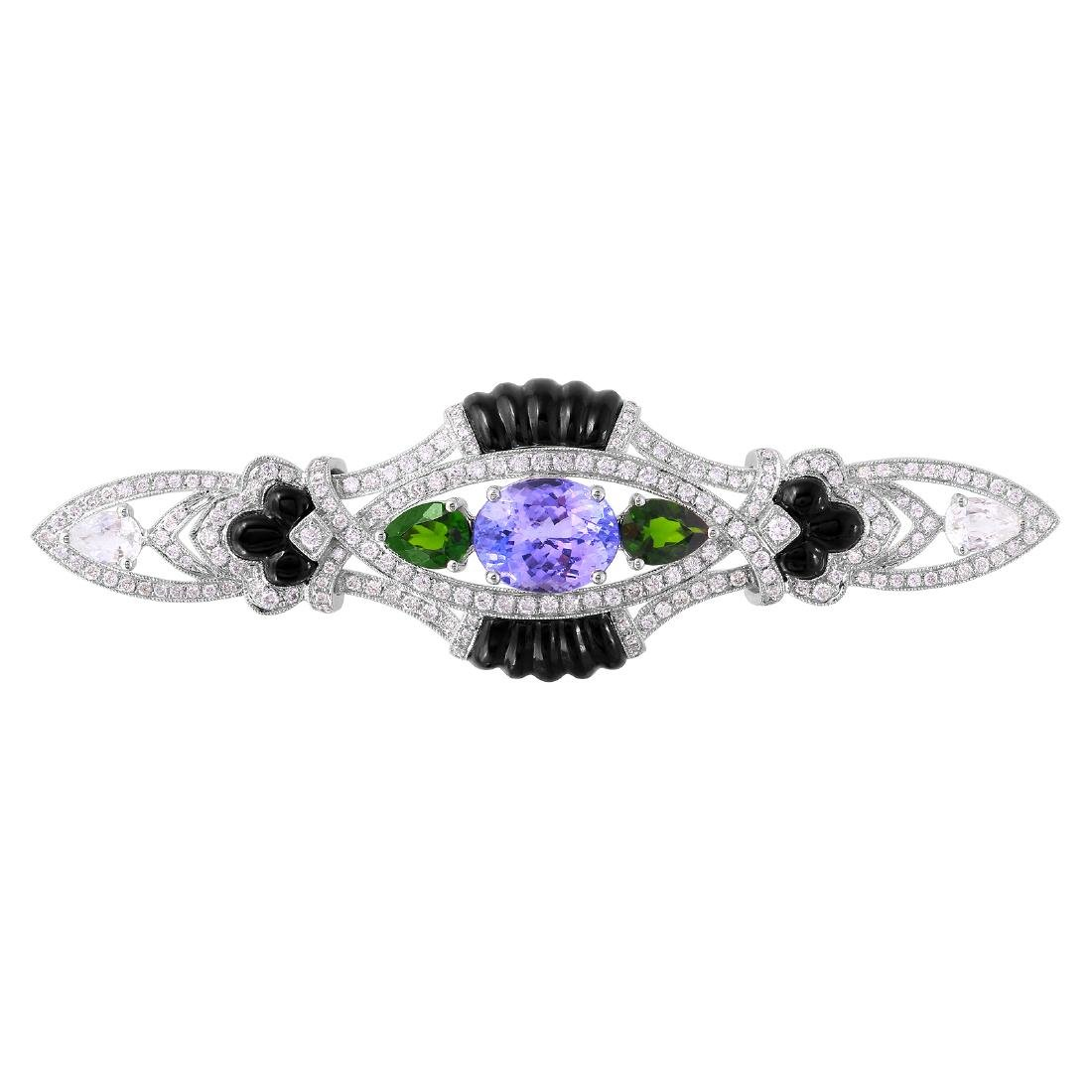 18KT White Gold Gemstone Brooch - 3