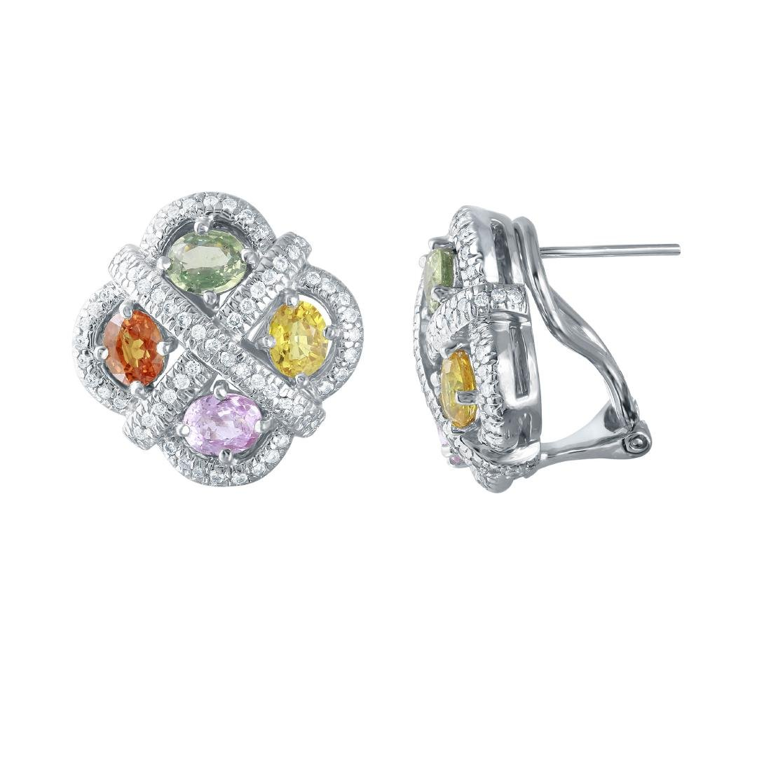 14KT White Gold Multi-Sapphire Earrings