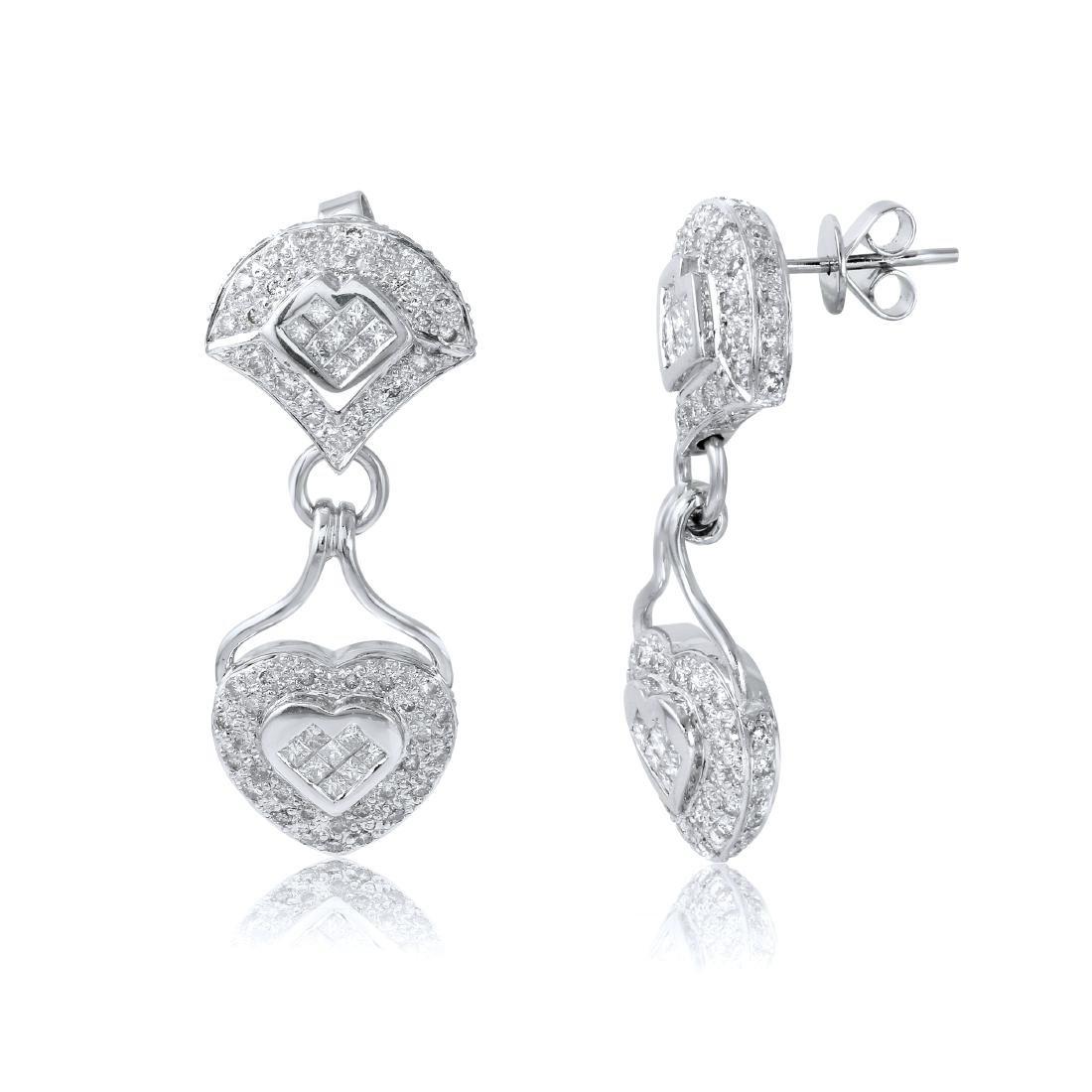 14KT White Gold Diamond Heart Earrings - 2