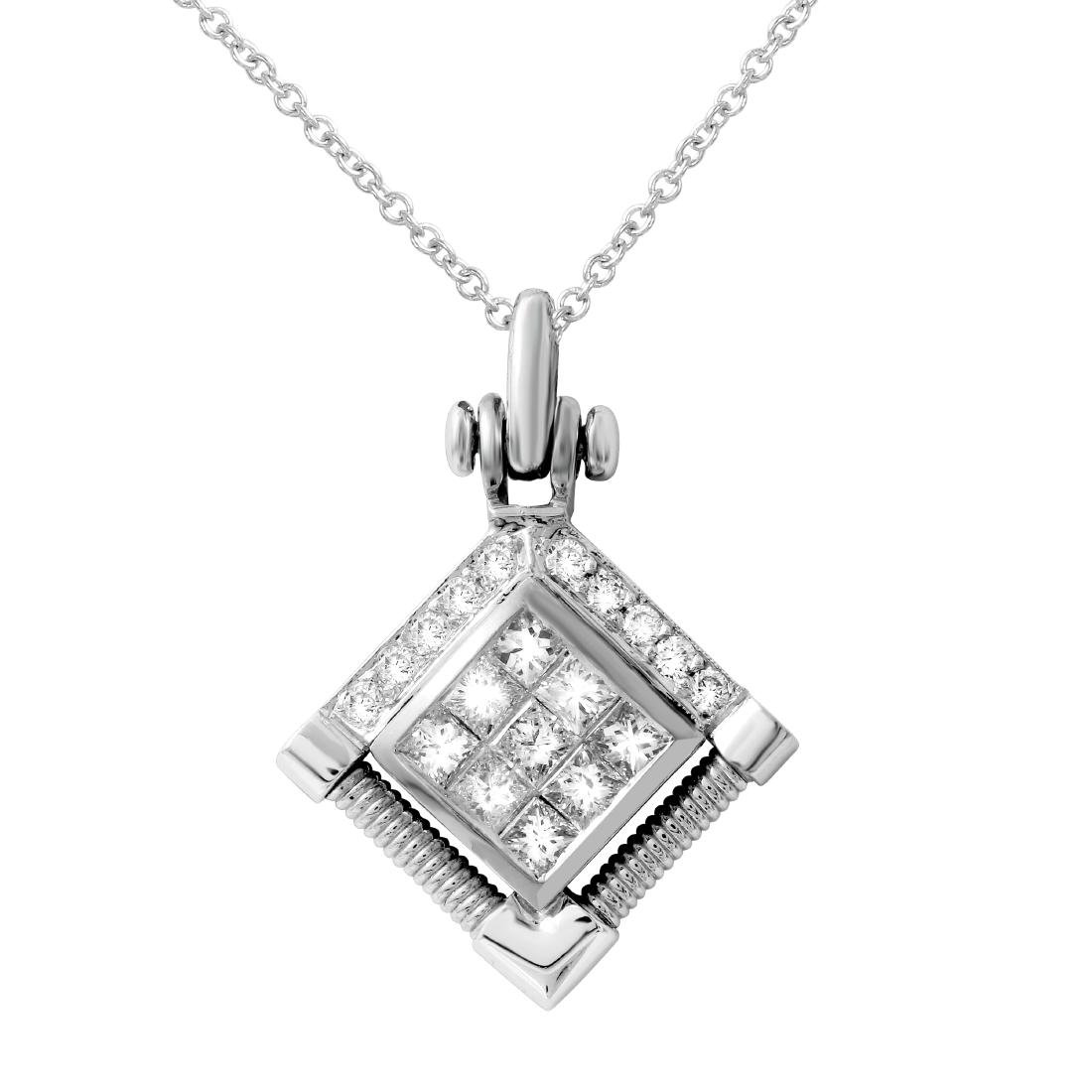 18KT Two Tone Gold Ladies Slider with Chain - 2