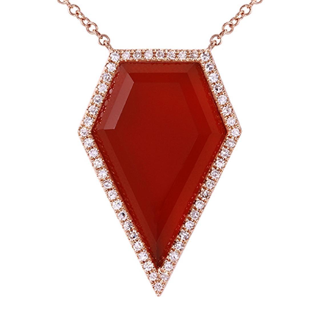 14KT Rose Gold Agate Necklace