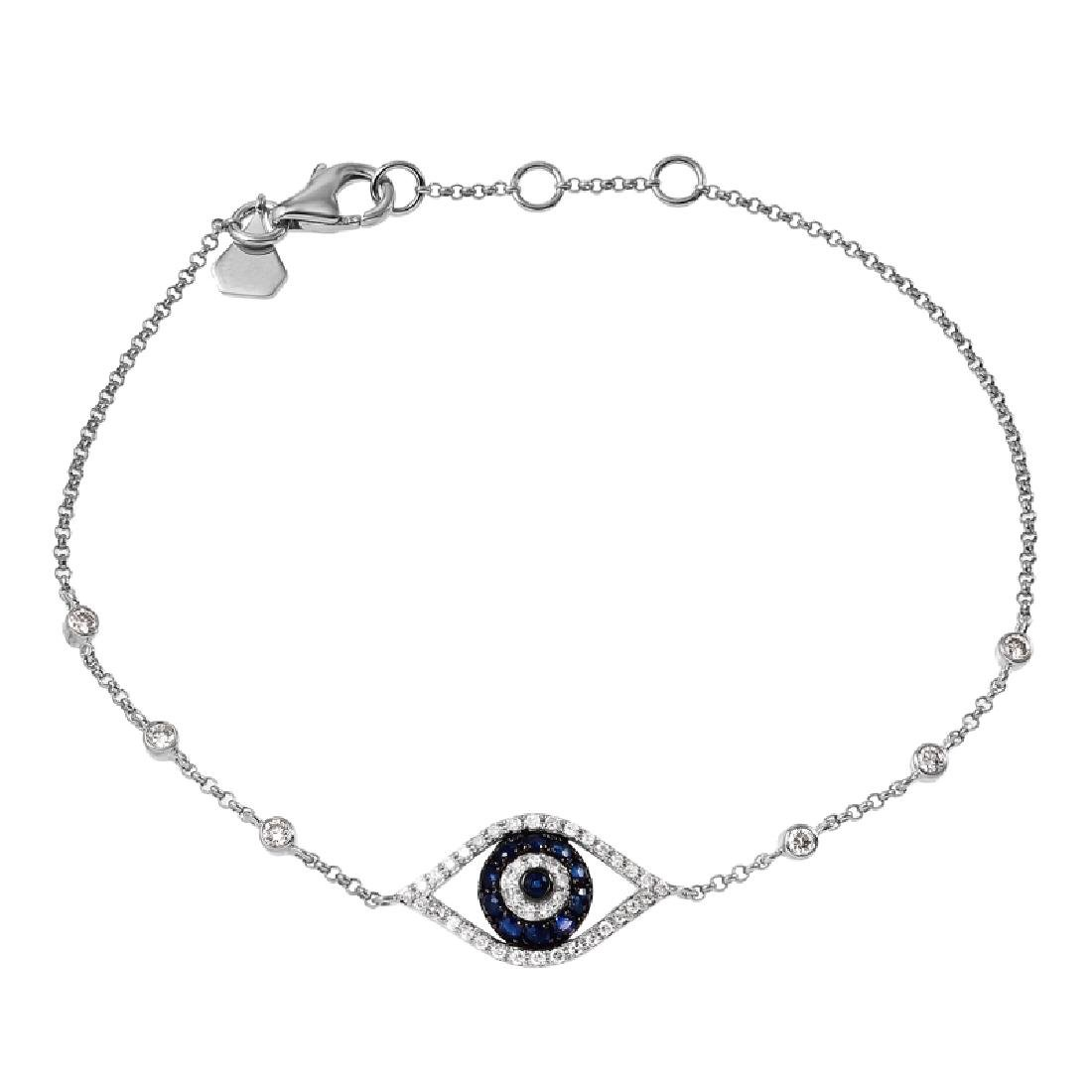 14KT White Gold Diamond & Sapphire Bracelet
