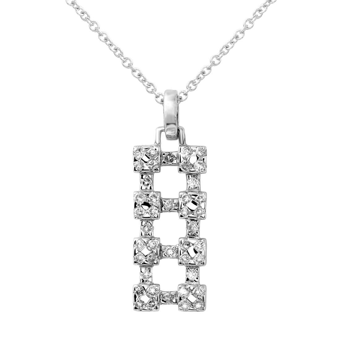 18KT White Gold Ladies Slider with Chain