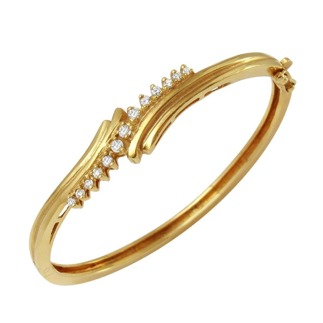 14KT Yellow Gold Diamond Bangle Bracelet - 2
